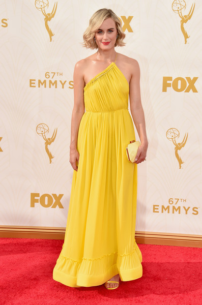 Taylor Schilling Satin Clutch [red carpet,yellow,gown,flooring,dress,carpet,shoulder,red carpet,fashion model,joint,cocktail dress,taylor schilling,emmy awards,67th emmy awards,microsoft theater,los angeles,california]