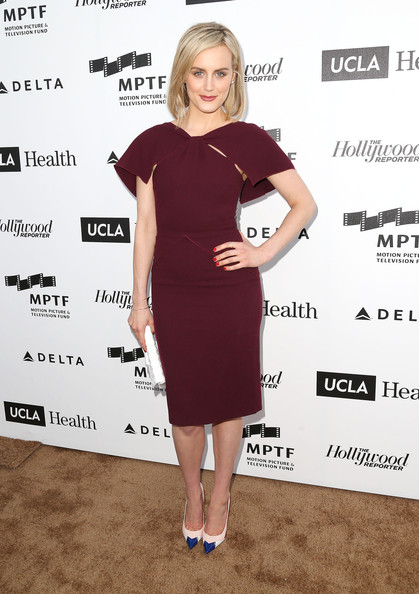 Taylor Schilling Form-Fitting Dress [mptf reel stories,clothing,footwear,little black dress,dress,flooring,shoulder,cocktail dress,fashion model,joint,fashion,taylor schilling,california,los angeles,milk studios,real lives event]