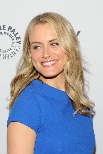 Taylor Schilling Long Wavy Cut [orange is the new black,made in new york,hair,blond,face,hairstyle,long hair,eyebrow,shoulder,electric blue,beauty,chin,taylor schilling,new york city,the paley center for media,paleyfest]