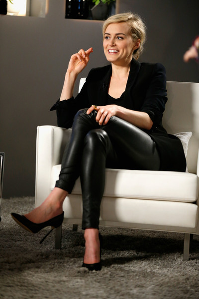 Taylor Schilling Leather Pants [taylor schilling,variety studio actors,actors,leg,lady,footwear,sitting,blond,leggings,joint,human leg,leather,knee,los angeles,california,variety emmy studio,autograph collection hotels]