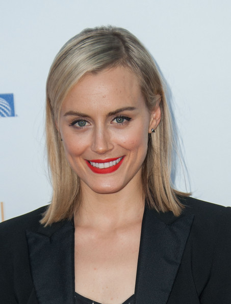 Taylor Schilling Medium Straight Cut [hair,face,hairstyle,lip,blond,eyebrow,chin,beauty,forehead,cheek,arrivals,taylor schilling,spectra,pacific design center,west hollywood,california,television academy,66th annual emmy awards,reception,nominee reception]