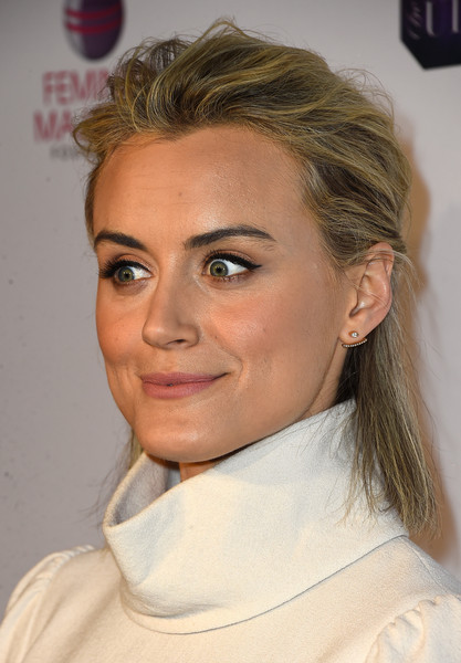 Taylor Schilling Half Up Half Down [hair,face,hairstyle,eyebrow,chin,blond,forehead,lip,nose,beauty,taylor schilling,shonda rhimes,arrivals,annual global womens rights awards,urban decay,pacific design center,west hollywood,california,feminist majority foundation,10th annual global womens rights awards]