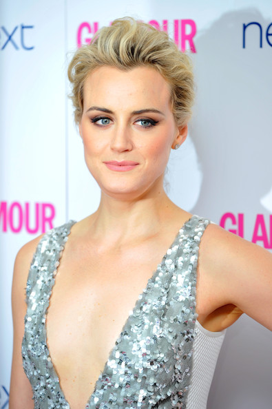 Taylor Schilling Pompadour [hair,blond,hairstyle,eyebrow,skin,lip,eyelash,beauty,chin,long hair,england,london,berkeley square gardens,glamour women of the year awards,arrivals,taylor schilling]