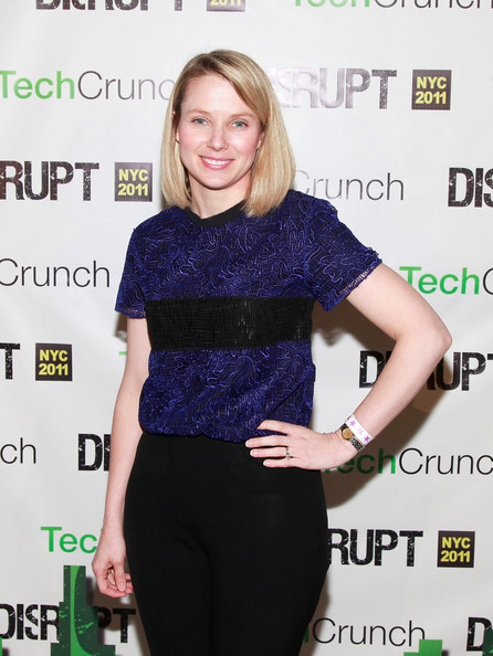 Marissa Mayer chose an embroidered two-tone blouse for day 3 of TechCrunch Disrupt NY 2011.