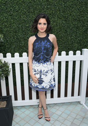 Laura Marano charmed in a printed halter dress by Ted Baker during the label's Spring 2017 launch.