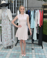 Greer Grammer looked sweet in a cream-colored Ted Baker bandage dress, featuring a fit-and-flare silhouette and a cutout yoke and hem, during the brand's Spring 2017 launch.