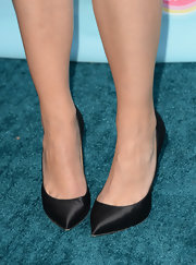 Maia went for a classic staple with this pair of black pointy toe pumps.