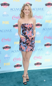 Bridgit Mendler had fun with prints when she wore this strapless blue, black, and pink splatter-print dress.