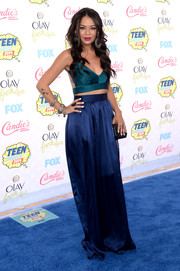 Janel Parrish's blue Contrarian New York maxi skirt contrasted wonderfully with her green top.