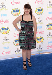 Jamie Brewer chose a pair of chic strappy sandals to team with her dress.
