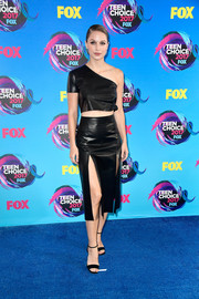 Melissa Benoist completed her all-black attire with a pair of ankle-strap heels by Giuseppe Zanotti.