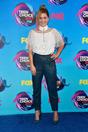 Candace Cameron Bure kept it ladylike up top in a white Swiss-dot blouse at the 2017 Teen Choice Awards.