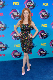 Katherine McNamara amped up the sweetness with a pair of pale pink pumps by Casadei.