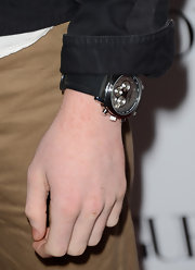Cameron Monaghan stylishly accessorized with a black leather chronograph watch at Teen Vogue's 10th Anniversary Young Hollywood Party.