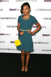 China Anne Mcclain looked charming in a teal dress with a flared hem during the Teen Vogue Young Hollywood party.