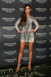Megan Atwood teamed her dress with silver Brian Atwood Tamara sandals for a totally fab look.