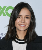 Nina Dobrev wore her hair down to her shoulders with just a slight wave at the Telethon for America.