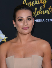 Lea Michele slicked her hair back into a simple ponytail for the Television Academy's 70th anniversary gala.