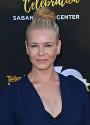 Chelsea Handler swept her tresses up into a trendy top knot for the Television Academy's 70th anniversary gala.