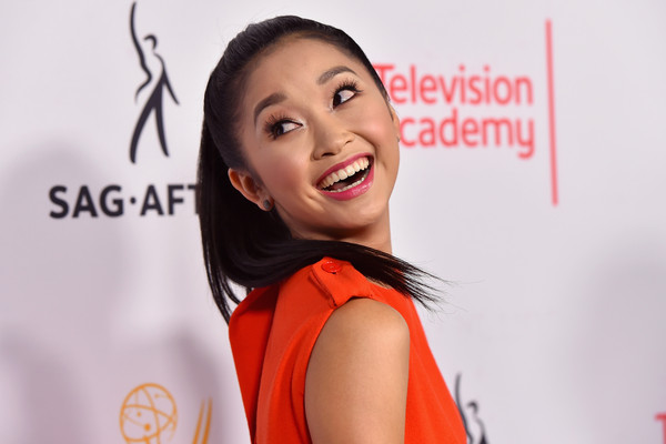 More Pics of Lana Condor Ponytail (1 of 7) - Lana Condor Lookbook - StyleBistro [face,hair,facial expression,red,skin,beauty,eyebrow,chin,hairstyle,cheek,lana condor,nominees,nominees,dynamic,emmy awards,montage beverly hills,sag-aftra,television academy,host cocktail reception,cocktail party]