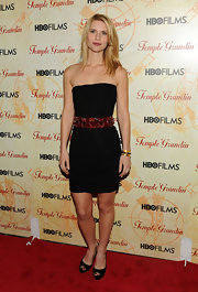 Claire Danes paired her little black dress with a stunning gemstone encrusted belt.