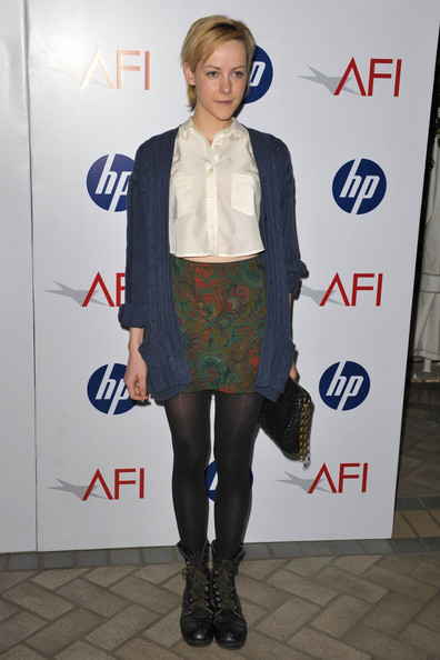 Jena Malone's black tights and combat boots added goth touch.
