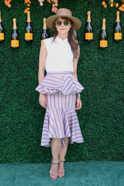 Keri Russell jazzed up her simple top with a flirty peplum skirt by Johanna Ortiz.
