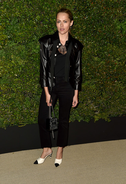 Teresa Palmer Bootcut Jeans [clothing,leather,fashion,leather jacket,jacket,textile,footwear,runway,outerwear,fashion model,caroline de maigret,pharrell williams,teresa palmer,gabrielle bag,giorgio baldi,santa monica,california,host a dinner in celebration of chanel,celebration]