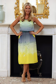 Denise van Outen channeled summer with a tie-dye dress at the photocall of Tesco Mum of the Year.