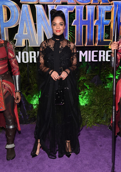 Tessa Thompson Pumps [black panther,clothing,carpet,fashion,red carpet,costume,flooring,dress,premiere,outerwear,fictional character,tessa thompson,california,hollywood,dolby theatre,marvel studios,los angeles world premiere]