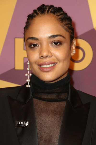 Tessa Thompson Braided Updo [eyebrow,beauty,hairstyle,chin,forehead,fashion model,long hair,lip,hair coloring,smile,tessa thompson,official golden globe awards,california,los angeles,circa 55 restaurant,hbo,arrivals]