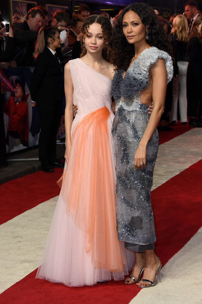 Thandie Newton Ruffle Blouse [red carpet,carpet,fashion model,clothing,dress,flooring,shoulder,premiere,fashion,gown,red carpet arrivals,nico parker,thandie newton,european,england,london,dumbo european premiere,premiere,the curzon mayfair]
