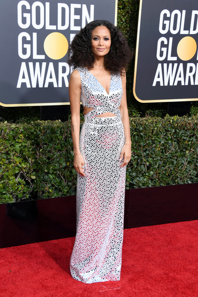 Thandiwe Newton Cutout Dress [clothing,dress,red carpet,carpet,shoulder,fashion,premiere,gown,fashion model,flooring,arrivals,dress,carpet,thandie newton,golden globe awards,red carpet,clothing,california,beverly hills,the beverly hilton hotel,thandie newton,76th golden globe awards,westworld,the 2019 golden globe awards,red carpet,the 2019 golden globes,2019,actor]