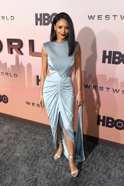 Thandiwe Newton Strappy Sandals [red carpet,westworld,season,clothing,fashion model,shoulder,dress,fashion,red carpet,hairstyle,carpet,premiere,fashion design,carpet,thandie newton,fashion,red carpet,celebrity,hbo,premiere,celebrity,red carpet,hbo,fashion show,supermodel,socialite,fashion,hbo 2,carpet]