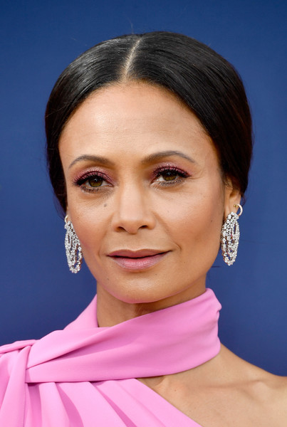 Thandiwe Newton Chignon [hair,face,eyebrow,chin,hairstyle,cheek,skin,forehead,neck,head,thandie newton,emmy awards,70th emmy awards,westworld,award,celebrity,hair,face,eyebrow,microsoft theater,thandiwe newton,70th primetime emmy awards,westworld,celebrity,primetime emmy award for outstanding supporting actress in a drama series,award]