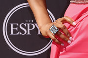 A baby pink polish gave Shaun a fun and flirty feel on the red carpet.