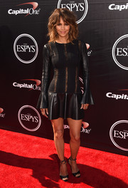 Halle Berry went for a rocker-glam vibe in a leather-and-lace LBD by Teresa Helbig during the ESPYs.