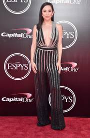 Cheryl Burke looked party-ready in a cleavage-flaunting jumpsuit with silver stripes during the 2016 ESPYs.