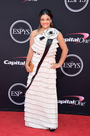 Laurie Hernandez charmed in a tiered white one-shoulder gown with floral detailing at the 2017 ESPYs.