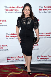 Gloria Estefan was classic and demure in a fitted black lace blouse at the Actors Fund Gala.