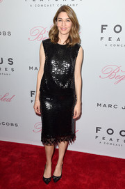 Sofia Coppola completed her all-black look with a pair of bowed pumps.