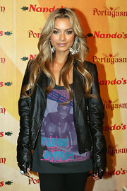 DJ Havana Brown showed up the Black Eyed Peas event wearing a loose tank topped with a cropped leather jacket and some skinny pants.