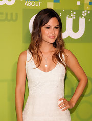 Rachel Bilson attended the CW Upfronts wearing a delicate Chanel Camelia agate and diamond necklace.