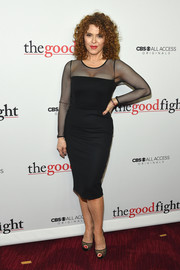 Bernadette Peters kept it timeless in a Max Mara LBD with a sheer yoke and sleeves at the world premiere of 'The Good Fight.'