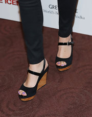 Tammy Blanchard chose these black and cork platforms for her casual but stylish red carpet look.