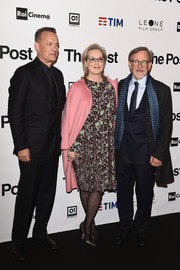 Meryl Streep attended the Milan premiere of 'The Post' wearing a loose, long-sleeve print dress.