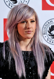 Looks like Kelly Osbourne has spawned a purple hair trend. Ellie showed off her side swept long locks wile hitting The Q Awards 2010.