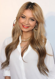 Havana Brown wore a beautiful pair of gold spherical earrings with fringe detail at the Red Rush Games party.
