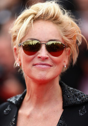 Sharon Stone arrived for the premiere of 'The Search' wearing cool and classic aviator sunglasses.