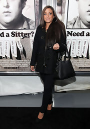 "Sammi ""Sweetheart"" Giancola was on hand for the premiere of 'The Sitter in a black toggle button coat."